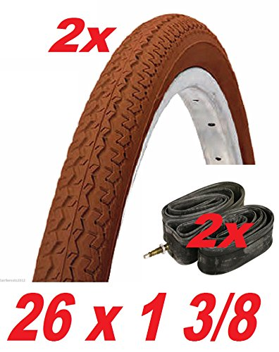 2 x bicicleta/Neumático para bicicleta 2 x cámaras de aire para bicicleta 26 x 1 3/8 /-Holanda R-City Bike color marrón