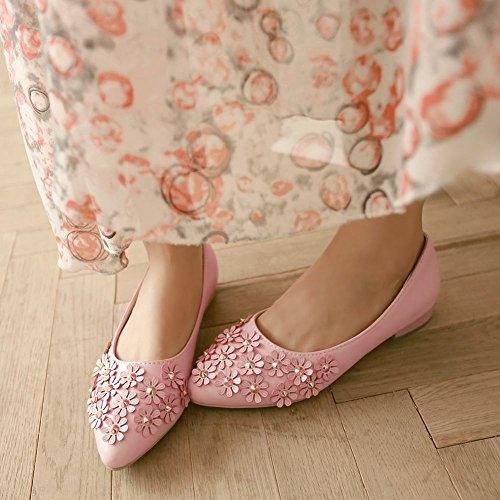 Mee Shoes Damen Blümchen Geschlossen Niedrig chunky heels Pumps Pink