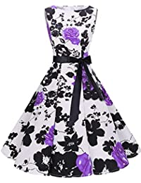 bbonlinedress Womens Sleeveless Vintage 1950s Rockabilly Cotton Floral Cocktail Evening Swing Party Dress