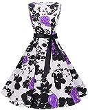 bbonlinedress 50s Retro Schwingen Vintage Rockabilly Kleid Faltenrock PurpleFlower L