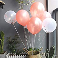 the GreatTony Confetti Balloons Rose Gold 5pcs +Latex Balloons Rose Gold 5pcs for Wedding, Proposal, Birthday Party Decorations 12