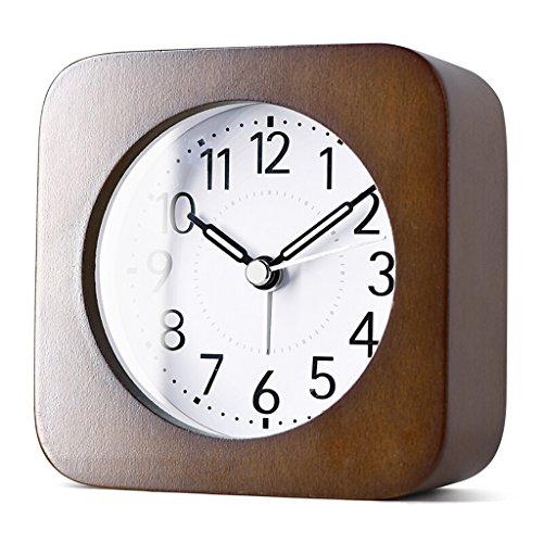 XXW Wecker Kreativer Schlafzimmer-Student-hölzerner Wecker, einfache Persönlichkeit leuchtender Zeiger-Nachtlicht-Quadrat-Gesichts-Stiller Wecker Timer (Color : Brown)