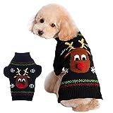 YiJee Weihnachten Haustier Bekleidung Elch Muster Kleine Hund Pullover Schwarz L