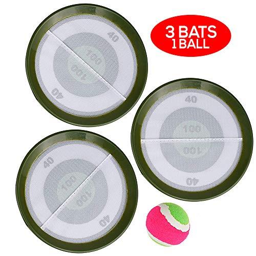4er Pack Klettballspiel & Ballspiel für Kinder & Erwachsene mit Klettball & Schläger - Ball Strandspiel, Fangspiel & Klett Wurfspiel Spielzeug für Strand & Garten - 3X Fangschläger & 1x Ball