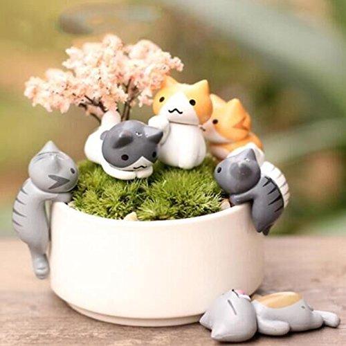 Fozela 6pcs Miniatur Diy/ Mikro Landschaft Decoration/ Cartoon Katze/ Miniatur Garten Fairy Door Garden Home Ornament (Ohne Pflanzen)