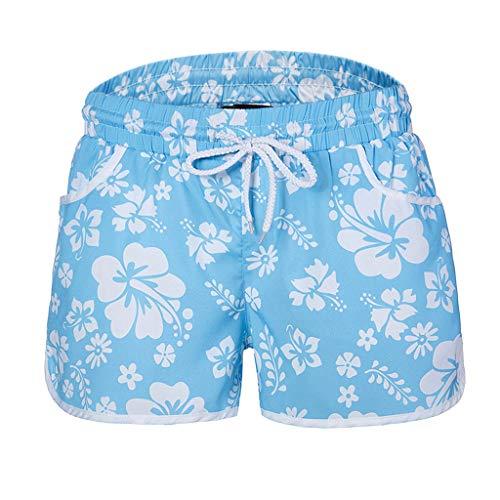 Zarupeng Damen Mehrfarbige Blumendruck Hot Pants Strand-Shorts Elastische Bund Atmungsaktiv Freizeitshorts Chino-Shorts Sportshorts mit Gürtel (Shorts Spandex-hot)
