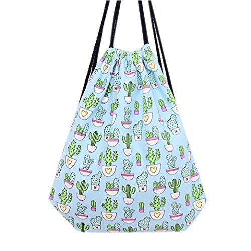saingace-women-cactus-drawstring-beam-port-backpack-shopping-bag-travel-bag-light-blue