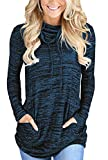 Dokotoo Damen Langarmshirt Oversize Pullover Freau Herbst Gestreift Bluse Tops Sweatshirt Frauen Lang Tops Rundhalsausschnitt Langarm Farbblock S-XXL, Blau, Medium (EU40-EU42)