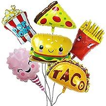 Globos de Decoración para Fiesta,Paquete de Snacks con Pizza,Palomitas,Hamburguesa,