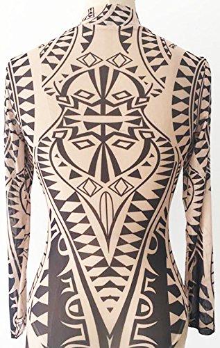 erdbeerloft - Damen Romper mit Muster und High Neck, 36-42, Viele Farben Beige