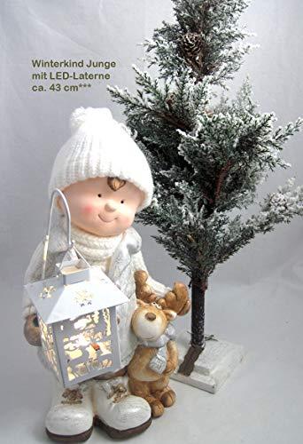 Sigro Export Import 1 Winterkind Junge mit LED-Laterne, weiß/braun/Silber Höhe ca. 43 cm