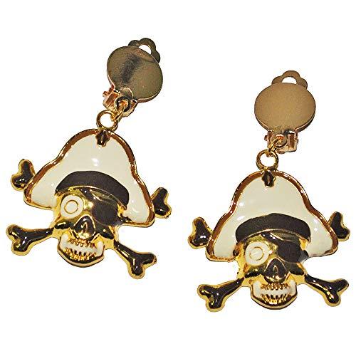 Goldener Piraten Schmuck - Ohrringe - für Goldene Piratin Kostüm (Kostüm Pirat Ohrringe)
