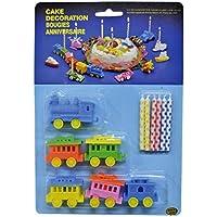 Set de 6 Velas de cumpleaños con 6 Figuras de Tren para el Pastel