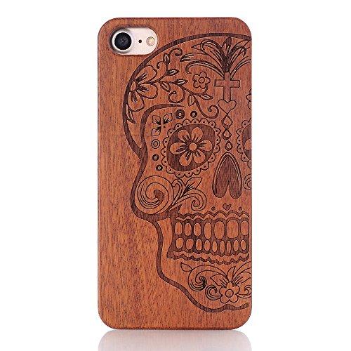 Coque iPhone 7 Plus, GIM Housse de Protection Bois Véritable + PC Bumper Dur Etui Case Hybride en Bois Naturel Sculpté Wood Cover Coque pour Apple iPhone 7 Plus 5.5 Pouces Smartphone Wood Skins #7