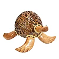 Adorable Sea Turtle Hand Carved Coconut Shell Figurine Sculpture