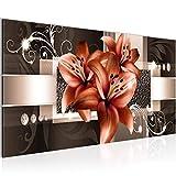 Bilder Blumen Lilien Wandbild Vlies - Leinwand Bild XXL Format Wandbilder Wohnzimmer Wohnung Deko Kunstdrucke Braun 1 Teilig - MADE IN GERMANY - Fertig zum Aufhängen 008612b