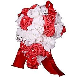 Ramo Novia Artificial - forma gota lluvia - color blanco y rojo