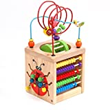 Enlarge toy image: BATTOP Wooden Cube Activity Centre Baby 6-in-1 Multifunction Bead Maze Cube Learning Toys for Kids Toddlers Gifts