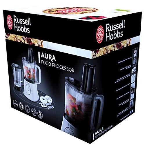 Russell Hobbs Aura Procesador de alimentos de 750W con accesorio picador, incluye jarra batidora 600 W, De plástico, 2 Velocidades, Negro, Color blanco