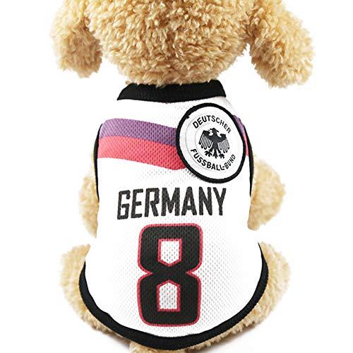 mi ji Alemania del Equipo de fútbol Jersey 8 de Perrito Ropa para Mascotas Pet Chalecos con los países del Logotipo, Preparado para el Aficionado Deportivo, Vestuario Adecuado para Mascotas Perro