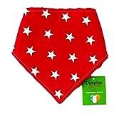 Dimples Hundehalstuch - Rot mit Sternen (Handgemacht für alle Größen und Rassen) 30cm