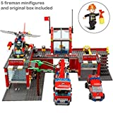 Ingenious Toys Feuer Station Set Motor Hubschrauber Feuerwehr - 774pcs Passend BAU Block #8051