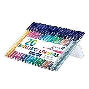 Staedtler 323 SB20 Triplus Colour Fibre-Tip Pen Desktop Box - Assorted Colours, Pack of 20