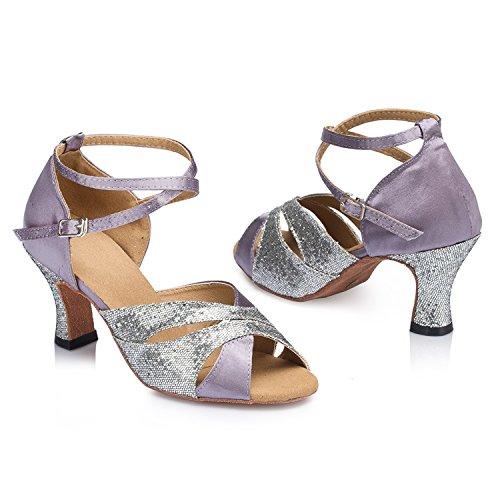 Minitoo Satin pour femme Maille épaisse haut talon à Paillettes Cha Cha Chaussures de danse Violet