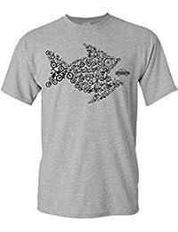 Bicicletta Maglietta: Pesce Bicicletta - T-Shirt da Bicicletta Come Regalo per i Ciclista - MTB - Corridore - Fixie - Mountain Bike - BMX - Regalo per Gli Amanti della Bicicletta