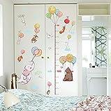 Simpatico elefante con palloncino Cartoon Animali Adesivi murali Altezza righello Misura per camera dei bambini Arte Decorazione della casa Decalcomanie 85 * 155cm