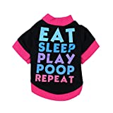 Hawkimin Hunde T-Shirt, Briefe Gedruckt Hundepullover Baumwoll Hemden Farbblock Welpen Kostüm Frühling und Sommer Für kleinen Hund Kleidung