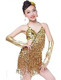 6991a0fc80fb3 Zhangcaiyun Trajes de Vestir de Baile de Tango Vestido de Baile con Borla Latina  para niños de Latin Tango Salsa Falda…