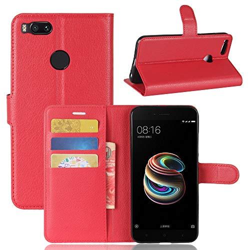 Ycloud Funda Libro para Xiaomi Mi A1 Suave PU Leather Cuero con Flip Cover, Cierre Magnético, Función de Soporte,Billetera Case con Tapa para Tarjetas + 1x Lápiz óptico (Rojo)
