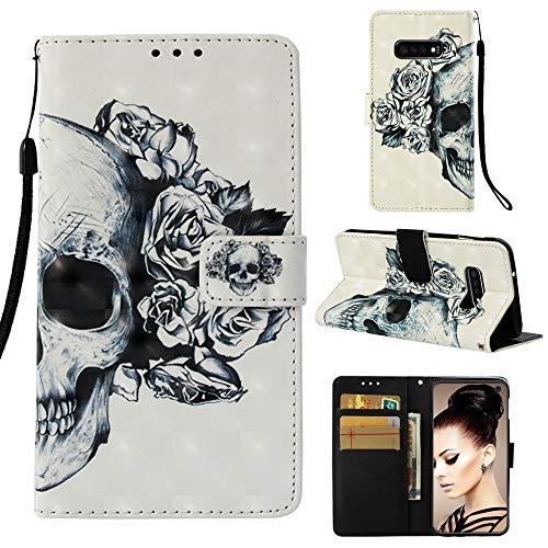 CoverKingz Handytasche für Samsung Galaxy S10e Handyhülle Schutzhülle, Klapptasche - Hülle mit Kartenfach, Motiv Totenkopf