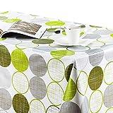 KP Home Moderna tovaglia Cerata in PVC Color Verde Lime con Cerchi Grigi su Bianco, Facile da Pulire, 250 x 140 cm, tovaglia Rettangolare in plastica vinilica