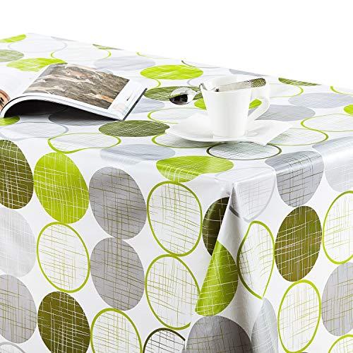 KP Home Tischdecke, PVC, abwischbar, rund, rechteckig, abwischbar, Vinyl, 250 x 140 cm, Limettengrün/Grau (Tischdecke Vinyl Runde)