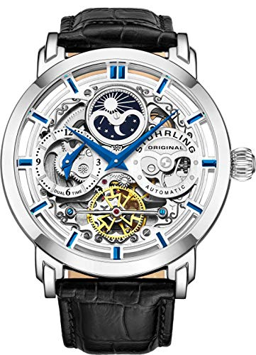 Stuhrling Original Men's Auto-Winding Esqueleto de lujo Dual Time Reloj de pulsera de acero inoxidable con 22 joyas 47 mm Decorativo Expuesto Volver En relieve Flexible Correa de cuero genuino