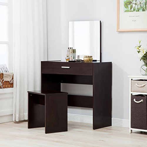 UEnjoy Schminktisch Modern Kosmetiktisch/ Schreibtisch mit Hocker & Spiegel Brauen Hocker Schreibtisch