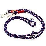 Taumur: zweifach verstellbare Hunde-Tauleine - dunkelblau/weiß/rot - Leine für mittelgroße Hunde aus robustem PPM