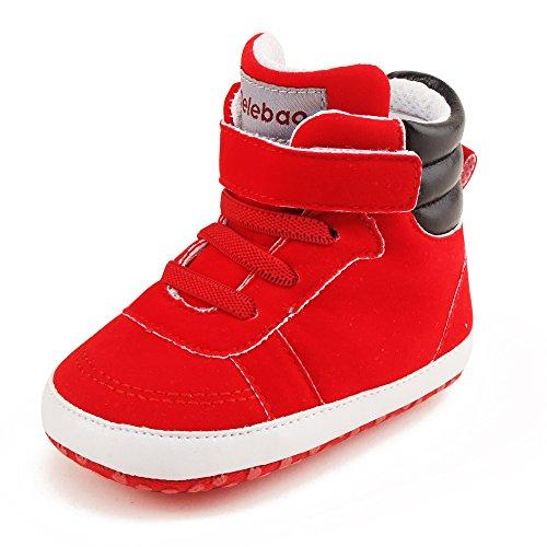 Delebao Baby Stiefel Schuhe Warme Babyschuhe Sneakers Schneestiefel Turnschuhe Lauflernschuhe Krabbelschuhe Weiche Sohle Hoch oben für Kinder Mädchen Jungen 0-6 Monate Rot