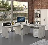 Möbel Pracht Eckschreibtisch Schreibtisch Büromöbel mit Rollcontainer - 4 teilig in Beton Grau/weiß