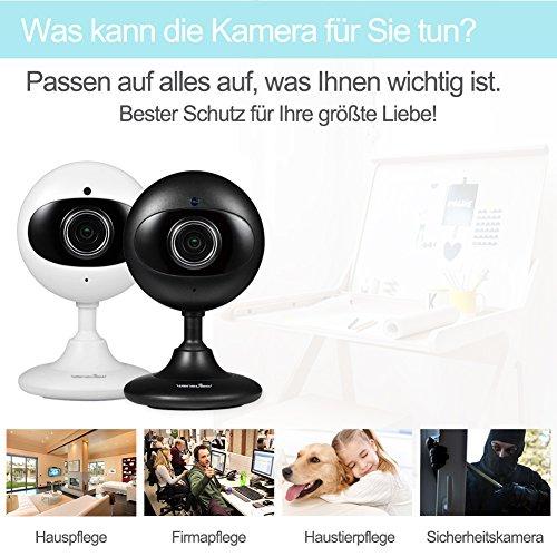 Wansview IP Kamera 720P WiFi Drahtlos Sicherheit Kamera für Baby/ Alter/ Haustier/ Kinderfrau Monitor mit Nachtsicht K2 (Schwarz) - 5