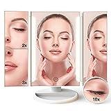 Schminkspiegel Kosmetikspiegel mit licht - Beleuchteter Spiegel mit 24 LED-Leuchten, drei aufklappbaren Spiegelseiten, mit Beleuchtung sowie 1x 2x 3x 10-facher Vergrößerung, 180-Grad-Drehung, Batterie und USB-Anschluss, Transportabler Make-up Tischspiegel (Weiß)
