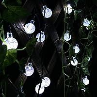 Xcellent Global Striscia di 20 Lampade LED a Sfera di Cristallo con 2 Modalità a Energia Solare per Decorazioni Alberi, Esterni, Giardini, Matrimoni M-LD049 - Stagno Striscia