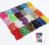 ilauke Nähfrei T5 Druckknöpfe 408 Set in 24 Farben mit Aufbewahrungsbox Kurzwaren Nähen Basteln Buttons für DIY Scrapbook