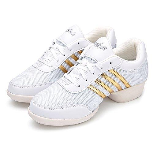HROYL Donna Scarpe da Ballo Scarpe Danza Sportiva della Maglia Leather Jazz Moderno, Danza Scarpe da Ginnastica Sneaker da Ballo Modello T08 Bianco