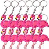 12 Stück TE-Trend Schlüsselanhänger Anhänger Flamingo Deko Vogel Wasservogel Kette Ring Keychain Rainbow Mädchen Geburtstag Mitgebsel