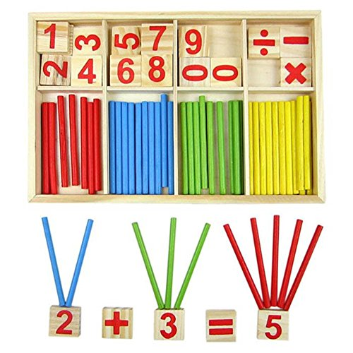 Demarkt Zahlen Buchstabe Zählstäbchen Rechenstäbchen Holz Zahlen Mathematik Spielzeug Ausbildung Montessori Mathe Spielzeug für Kinder (Zahlen Holz-buchstaben)
