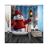 Gnzoe Polyester Badewanne Vorhang Schneemann Muster Design Duschvorhang Rot für Badezimmer/Badewanne 90x180CM