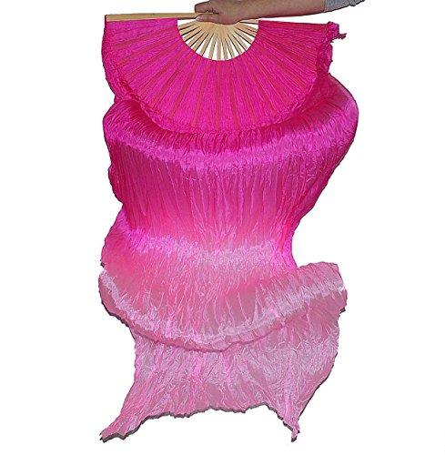 Schleierfächer Tanz Fächer Fächerschleier Seidenfächer Flügel Bauchtanz 1 Paar Pink